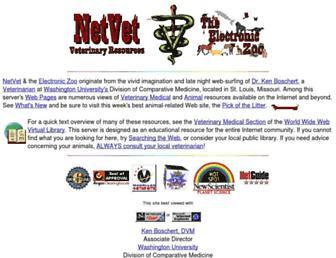 Main page screenshot of netvet.wustl.edu