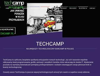 Main page screenshot of techcamp.pl