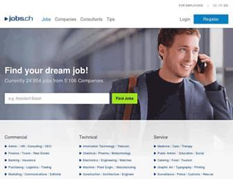 Main page screenshot of jobs.ch
