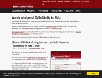 Main page screenshot of selbstaendig-im-netz.de