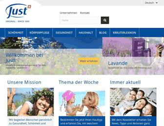Main page screenshot of just.ch