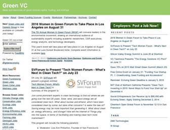 Main page screenshot of greenvc.org