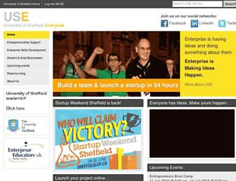 Main page screenshot of enterprise.shef.ac.uk