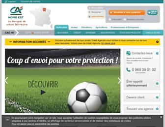 Main page screenshot of ca-nord-est.fr