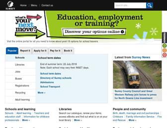 Main page screenshot of surreycc.gov.uk
