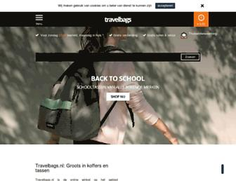 Main page screenshot of travelbags.nl