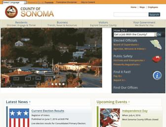 Main page screenshot of sonoma-county.org
