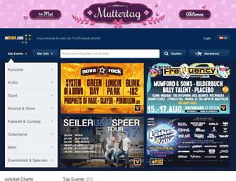 Main page screenshot of ticketonline.at