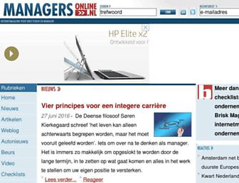 Main page screenshot of managersonline.nl