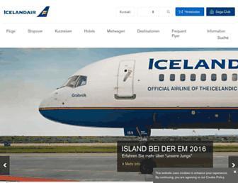 Main page screenshot of icelandair.de
