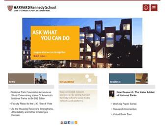 Main page screenshot of hks.harvard.edu
