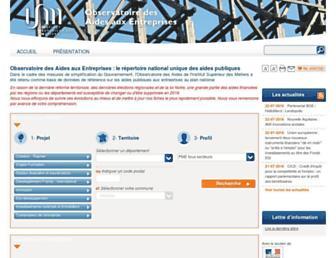 Main page screenshot of aides-entreprises.fr