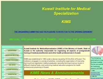 Main page screenshot of kims.org.kw