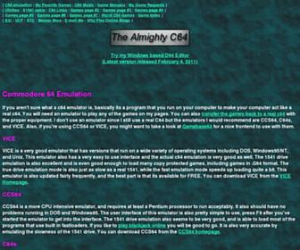 Main page screenshot of almighty.c64.org