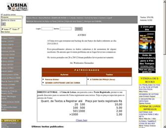 Main page screenshot of usinadeletras.com.br