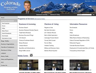 Main page screenshot of sos.state.co.us