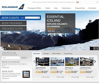 Main page screenshot of icelandair.ca