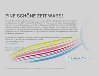 Main page screenshot of games4mac.de