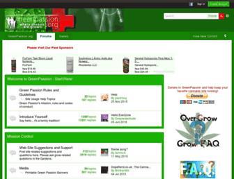 Main page screenshot of greenpassion.org