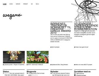 Main page screenshot of wegame.dk