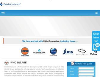 Main page screenshot of drishtiinfotech.net