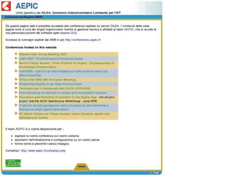 Main page screenshot of conferences.aepic.it