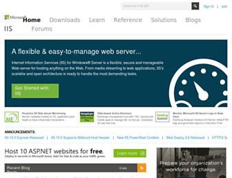 Main page screenshot of iis.net