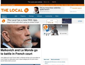 Main page screenshot of thelocal.fr
