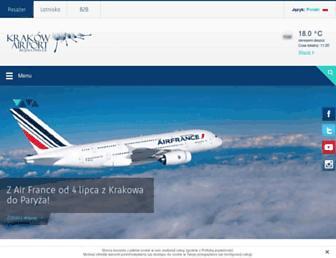 Main page screenshot of krakowairport.pl