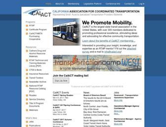 Main page screenshot of calact.org