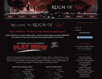 Main page screenshot of reignofblood.net