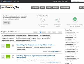 Main page screenshot of mathoverflow.net