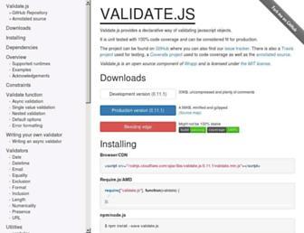 validatejs.org screenshot
