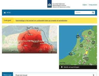 Main page screenshot of knmi.nl