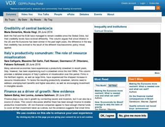 Main page screenshot of voxeu.org