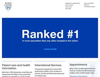 Main page screenshot of mayo.edu