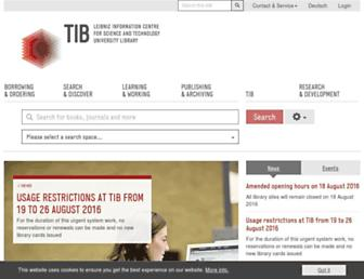 Main page screenshot of tib-hannover.de