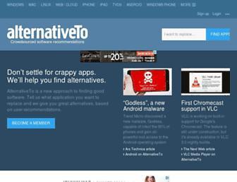 Main page screenshot of alternativeto.net