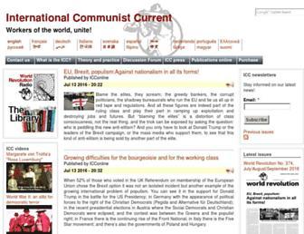 Main page screenshot of en.internationalism.org