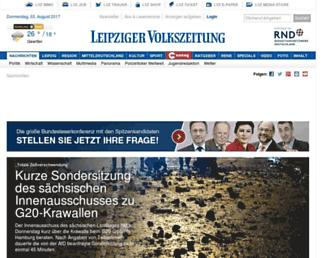 Main page screenshot of nachrichten.lvz-online.de