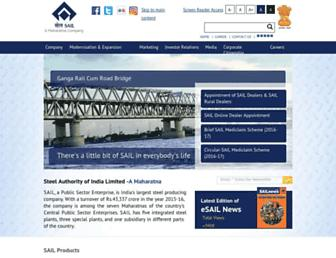 Main page screenshot of sail.co.in