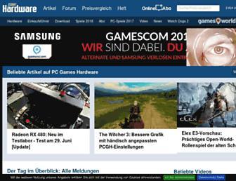 Main page screenshot of pcgameshardware.de