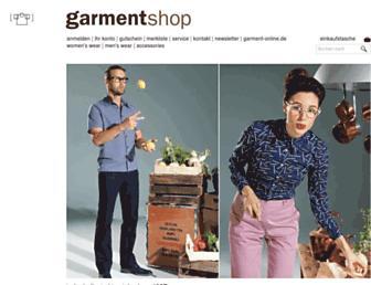 Main page screenshot of garmentshop.de