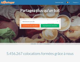 Main page screenshot of appartager.be