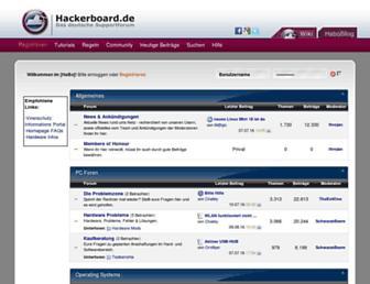 Main page screenshot of hackerboard.de