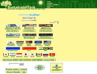 Main page screenshot of sustainabilitank.info