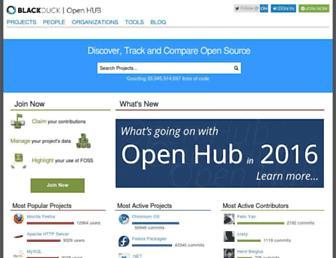 Main page screenshot of ohloh.net