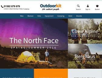 Main page screenshot of outdoorkit.co.uk