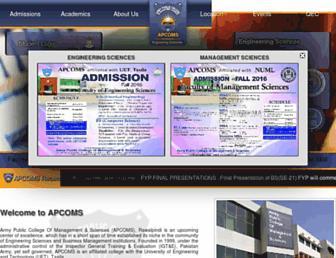 Main page screenshot of apcoms.edu.pk