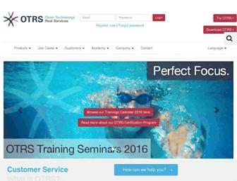 Main page screenshot of otrs.org